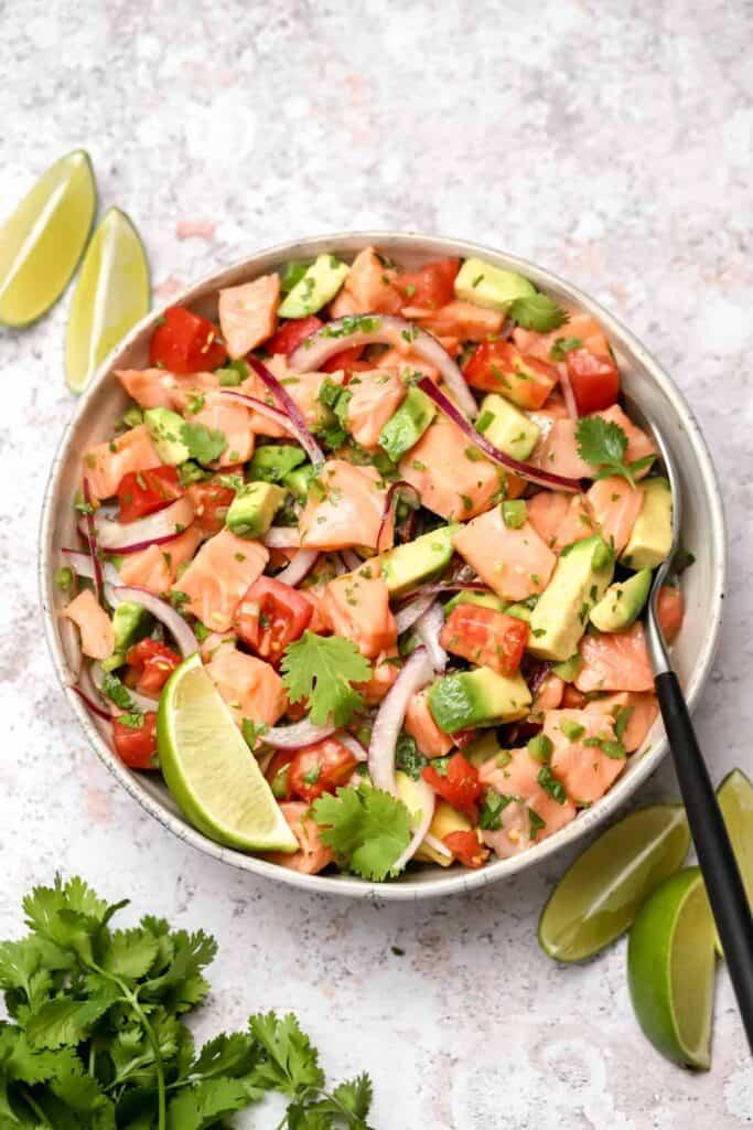 Fresh salmon ceviche in a bowl
