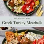Greek turkey meatballs pinterest graphic