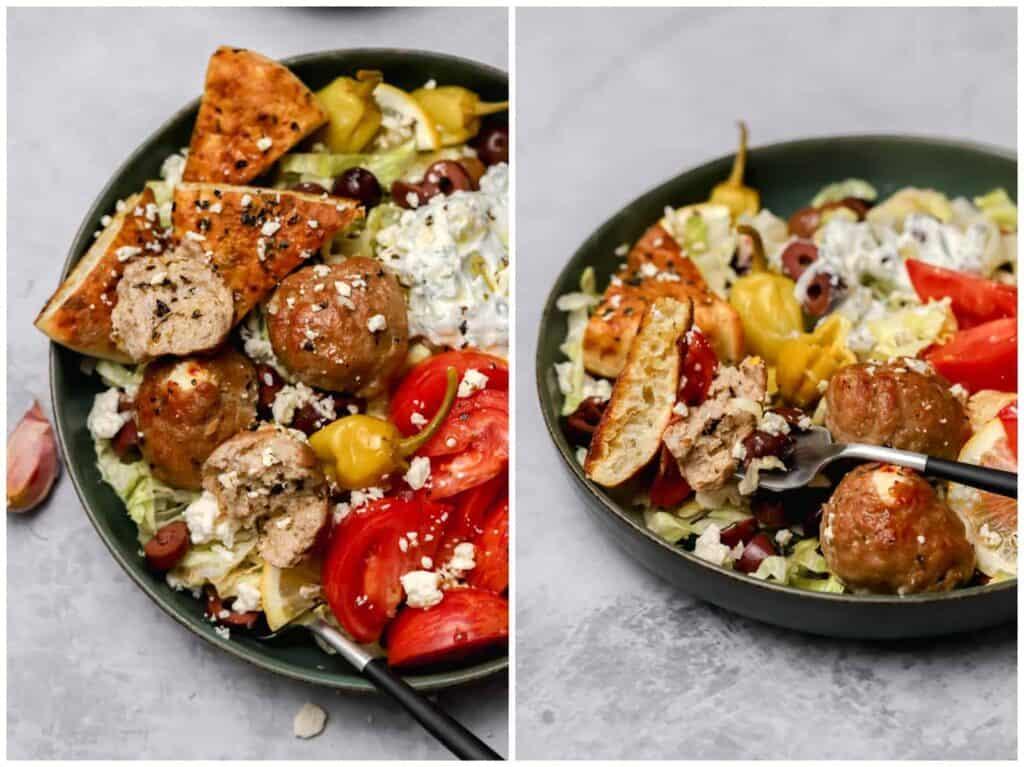 Greek turkey meatballs with Greek salad
