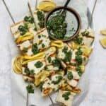 Grilled swordfish skewers