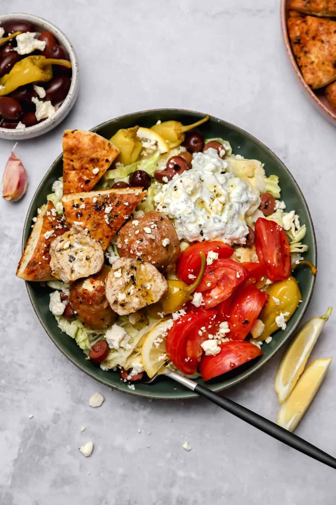Healthy Greek turkey meatballs with tzatziki