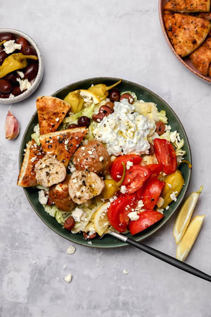 Healthy oven baked turkey meatballs with pita chips
