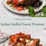 Indian Stuffed Sweet Potatoes pinterest graphic