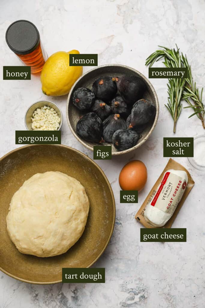 Ingredients for a savory fig tart
