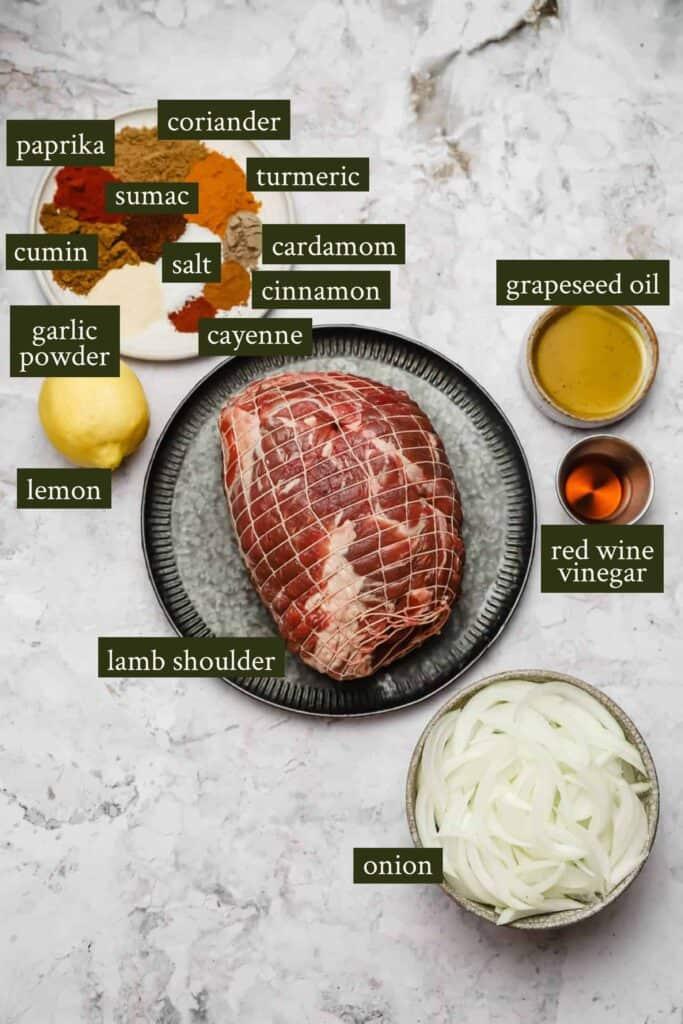 Ingredients for lamb shawarma