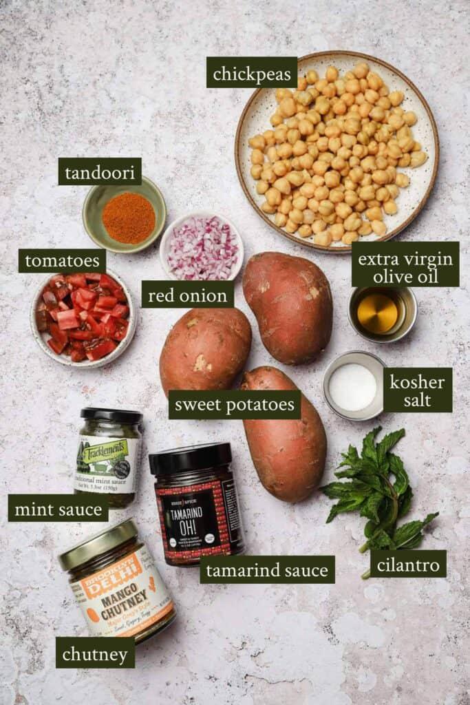 Ingredients for stuffed sweet potatoes with tandoori seasoning