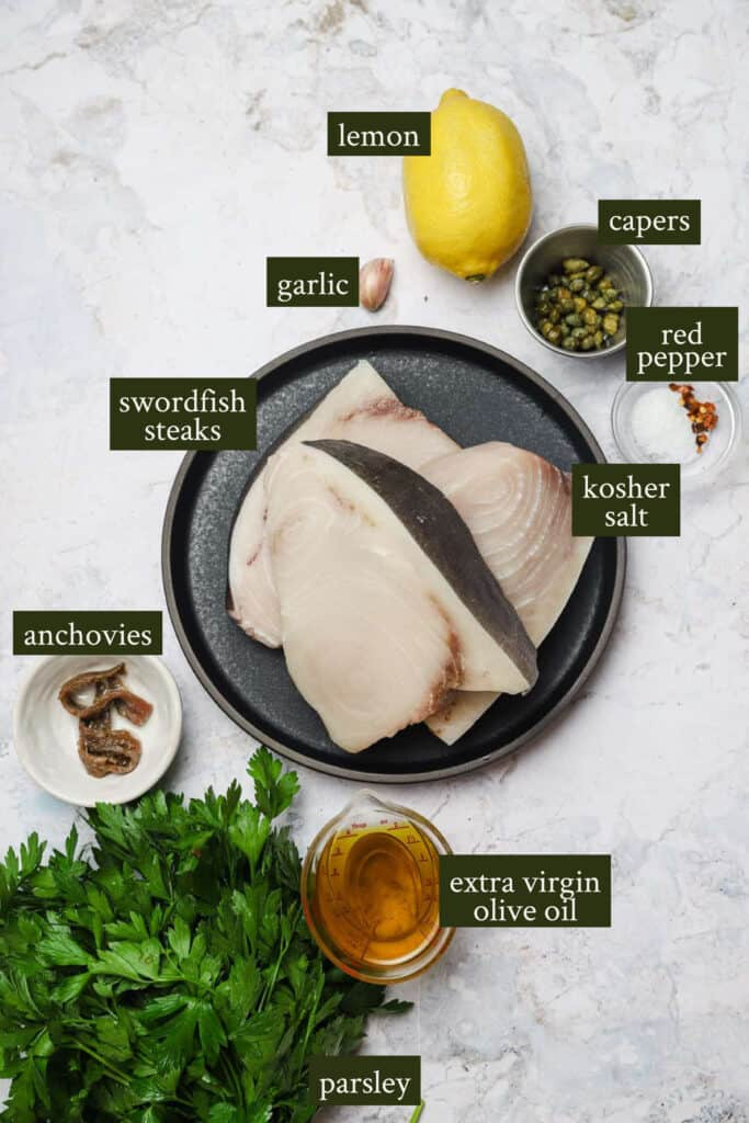 Ingredients for swordfish skewers