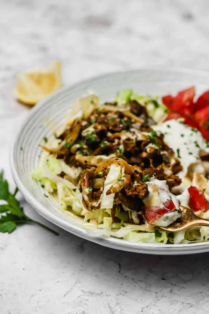 Lamb shawarma with hummus