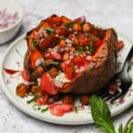 Loaded sweet potato with roasted chickpeas