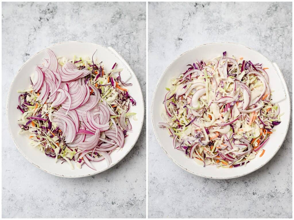 Mixing coleslaw for pulled pork