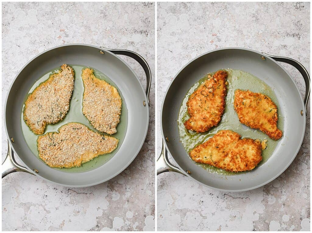 Pan fried chicken cutlets in a skillet