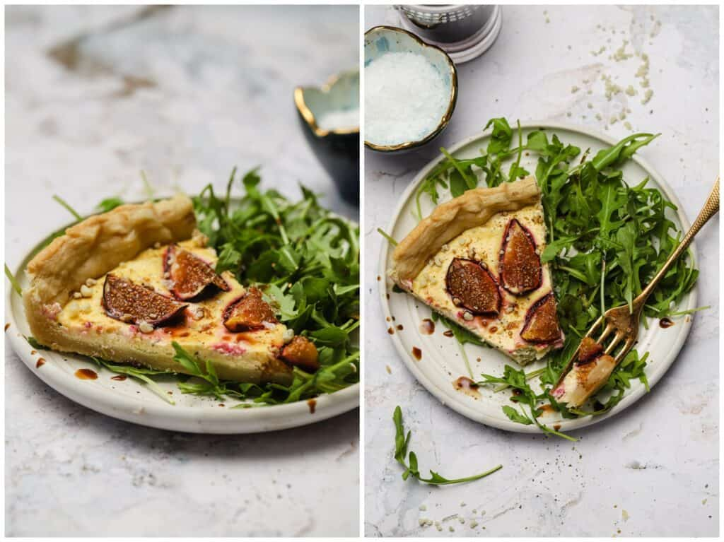 Savory tart with goat cheese and fresh figs on a plate