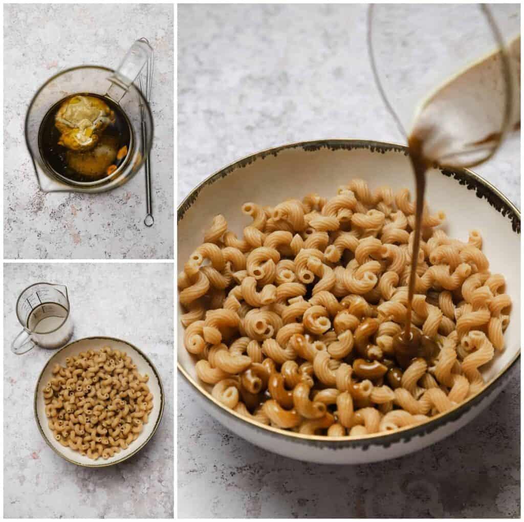 Tossing pasta with balsamic vinaigrette