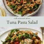 Tuna pasta salad pinterest graphic