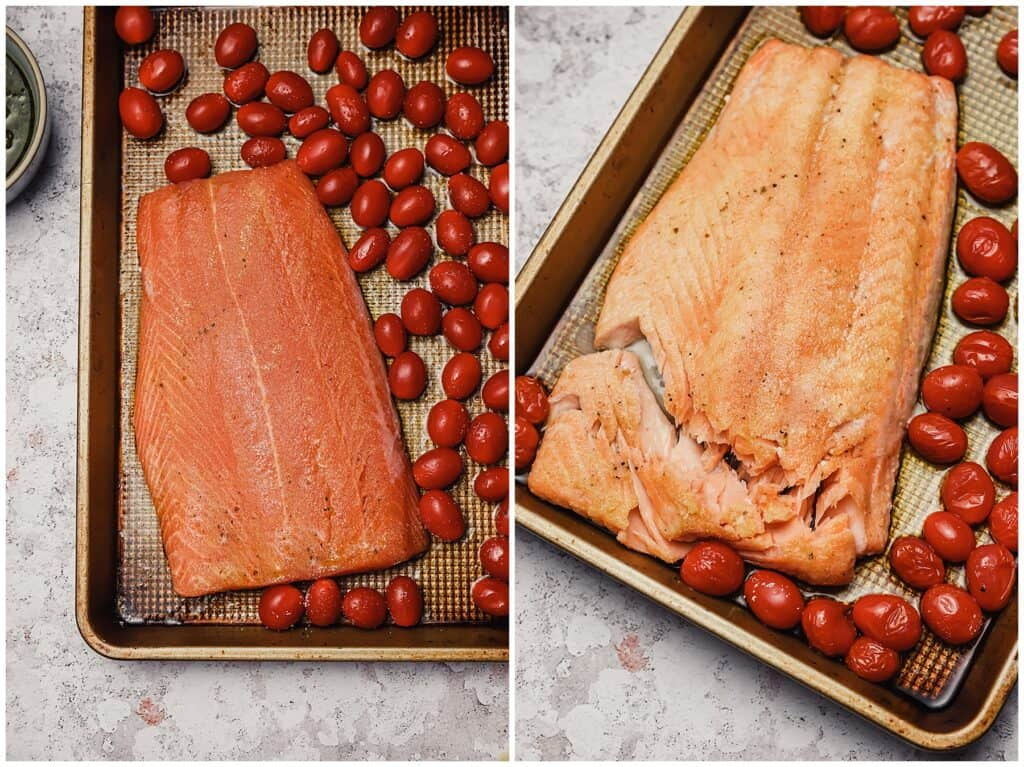 Baked salmon on a sheet pan with tomatoes