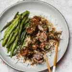 Beef negimaki with rice and blistered haricots verts