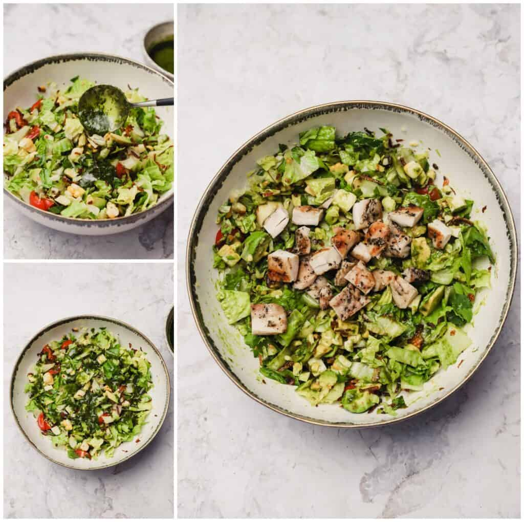 Chopped salad with grilled chicken in a bowl