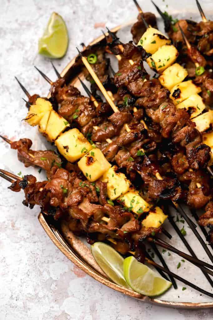 Filipino pork skewers with pineapple