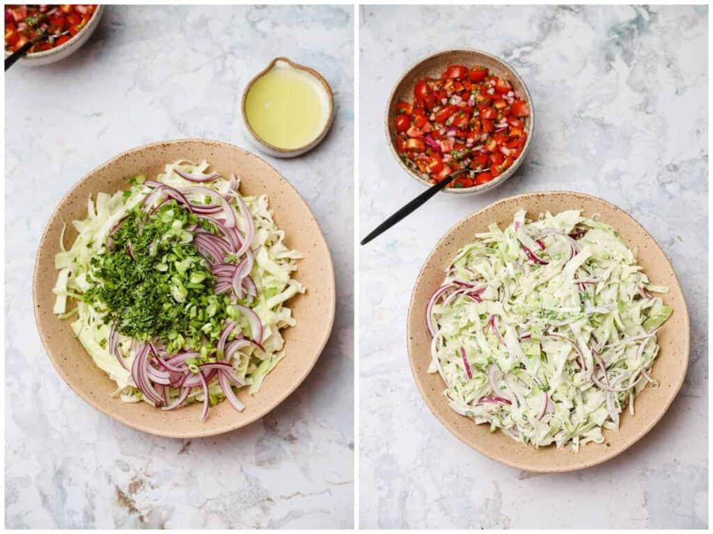 Fish taco slaw in a bowl