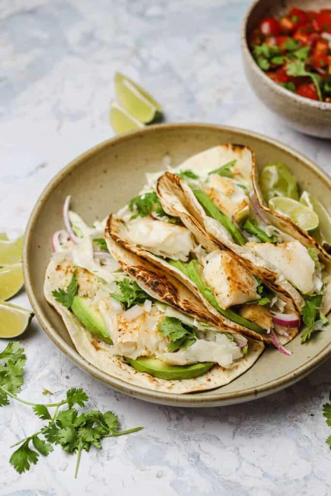 Grilled cod tacos with pico de gallo