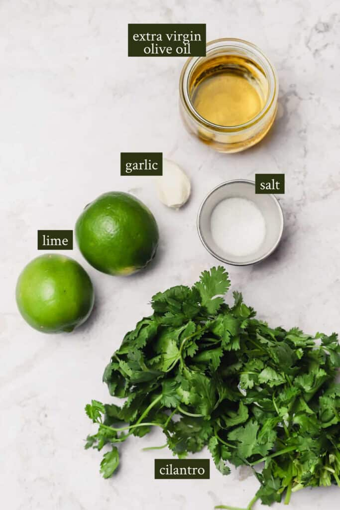Ingredients for cilantro lime dressing
