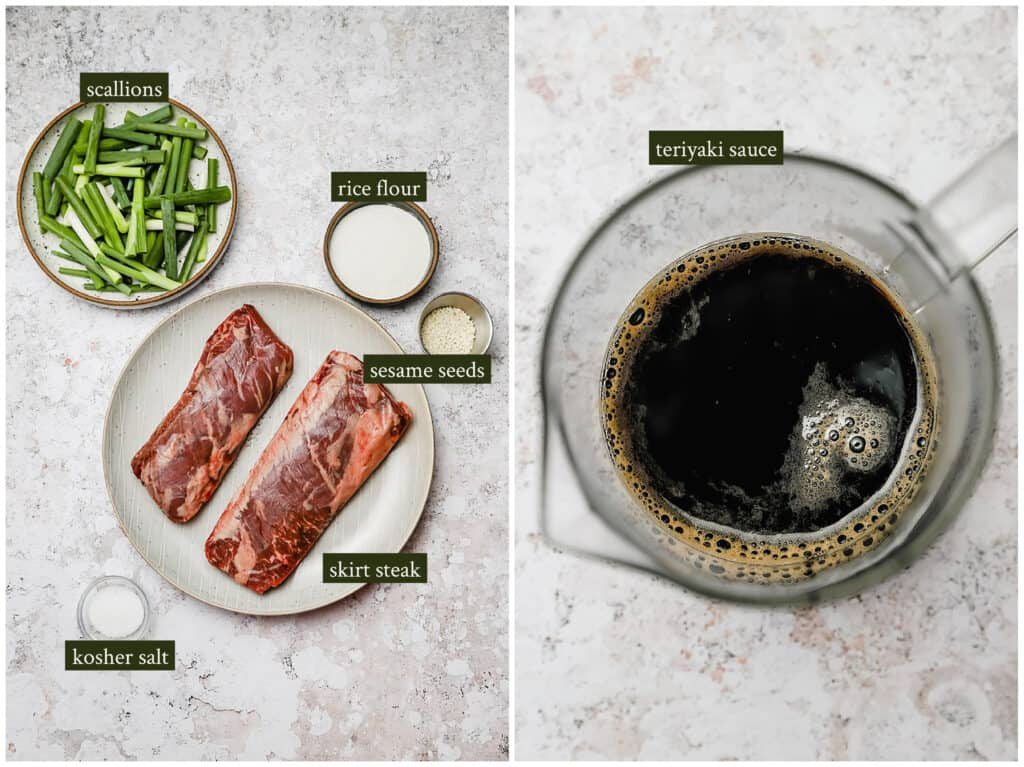 Ingredients for negimaki