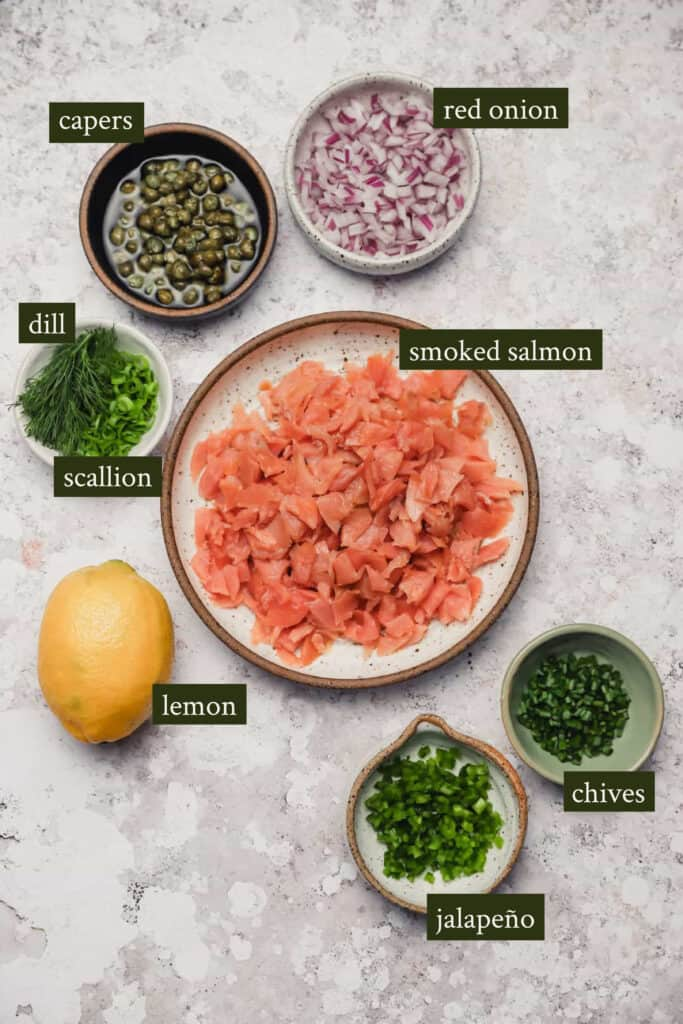 Ingredients for smoked salmon salad