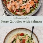 Pesto zoodles pinterest graphic