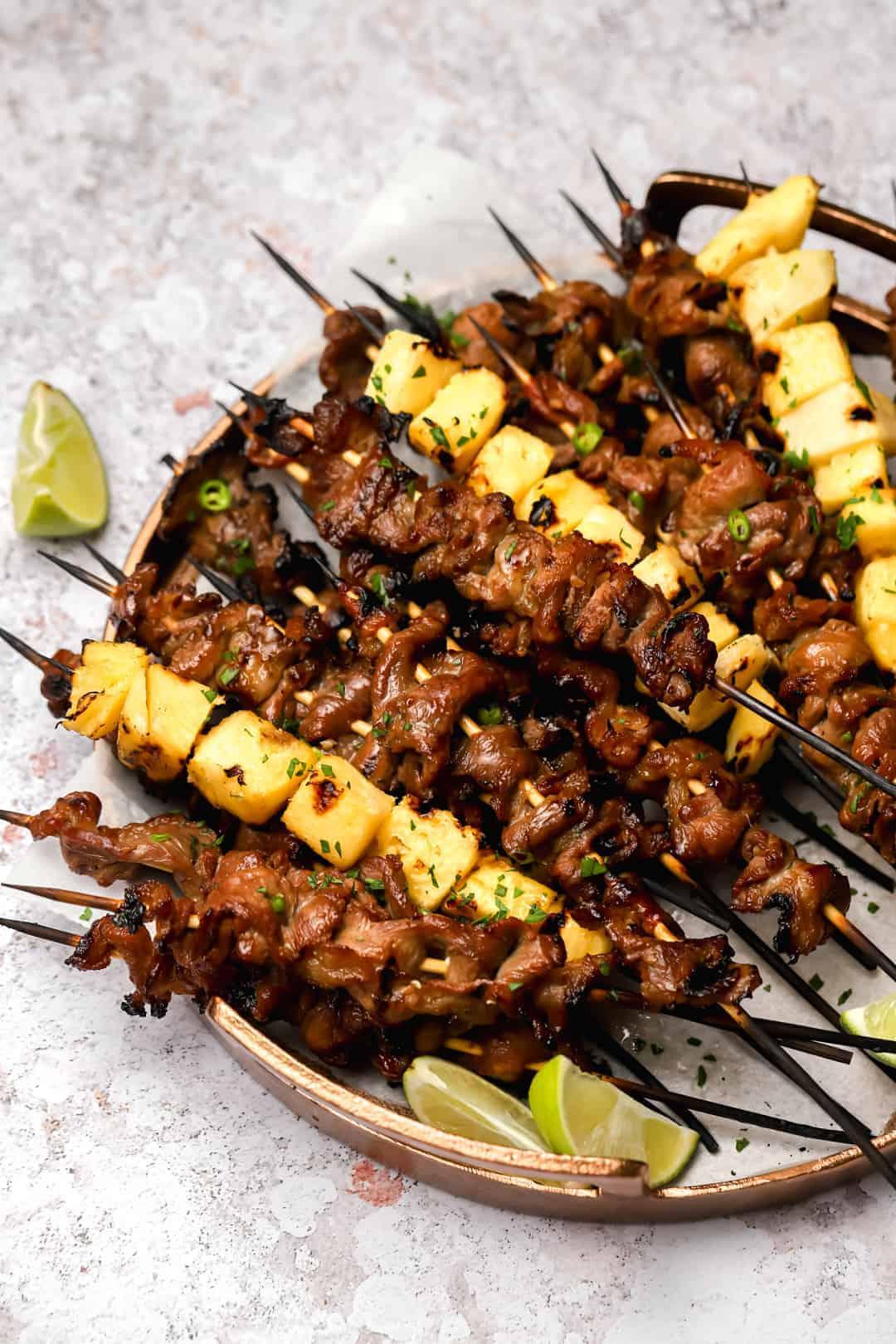 Pork skewers with pineapple
