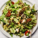 Santa Fe salad with chicken on a plate