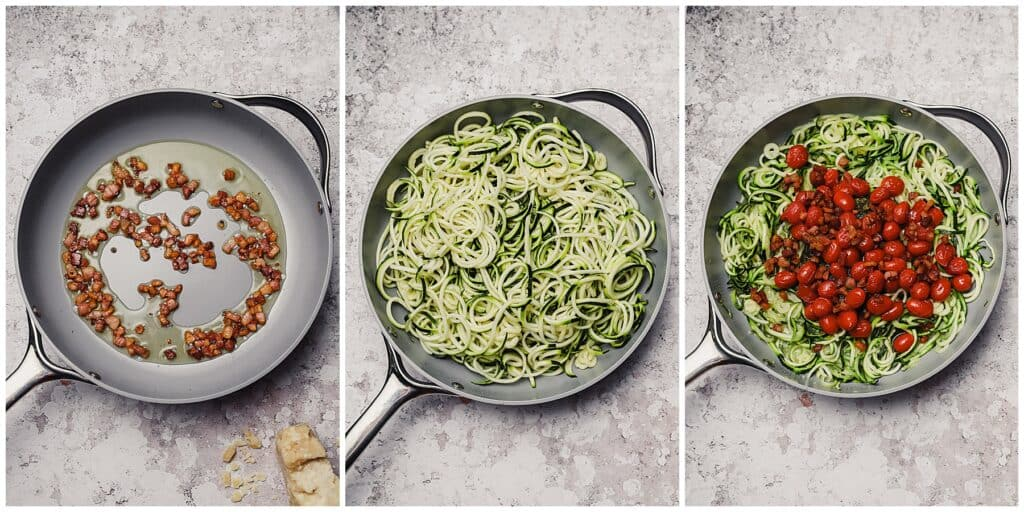 Sautéed zoodles with tomatoes