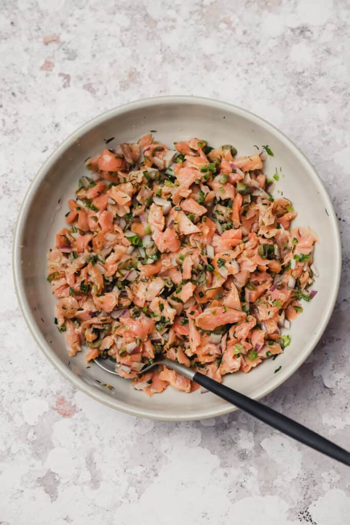 Smoked salmon dip or salad in a bowl