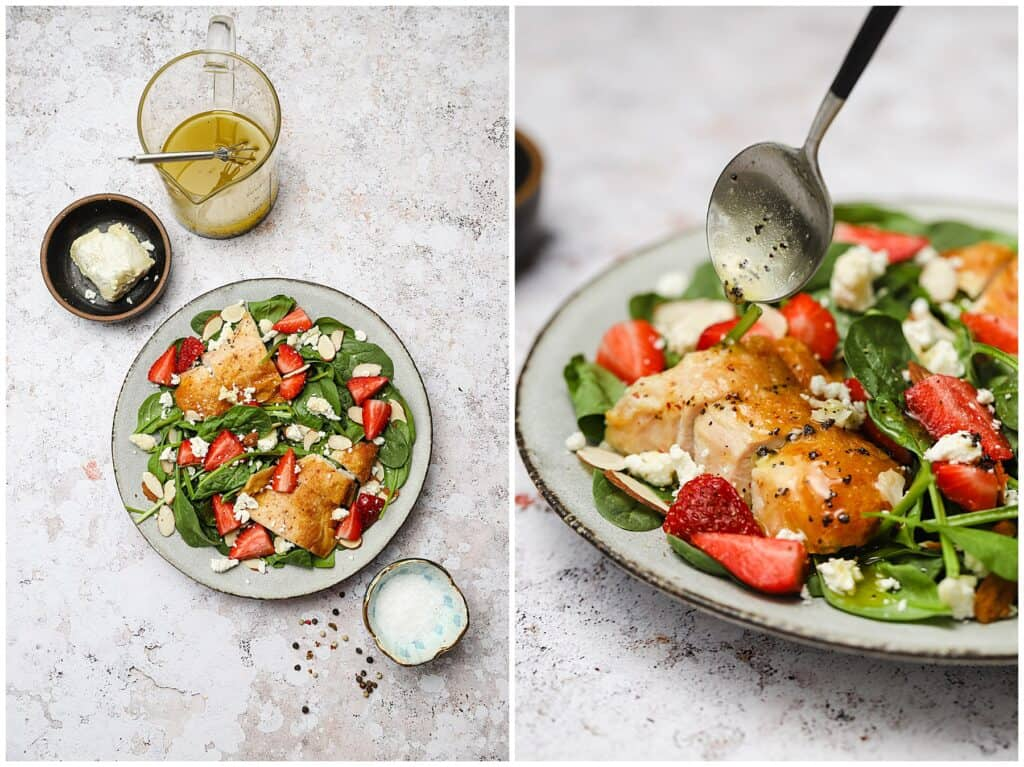 Spinach salad with lemon poppy seed salad dressing