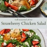 Strawberry chicken salad with poppy seed dressing pinterest graphic