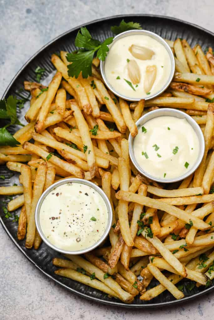 Homemade garlic aioli with french fries