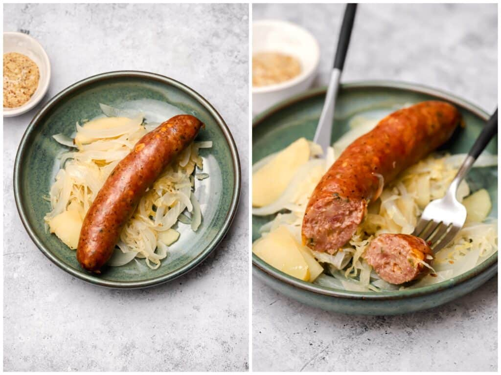 Beer brats with sauerkraut and mustard on a plate