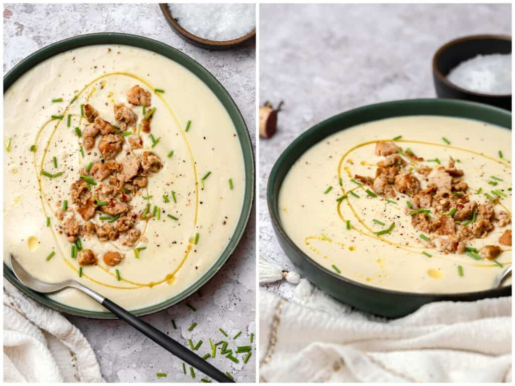Dairy free cauliflower soup with sausage