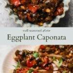 Eggplant caponata pinterest graphic