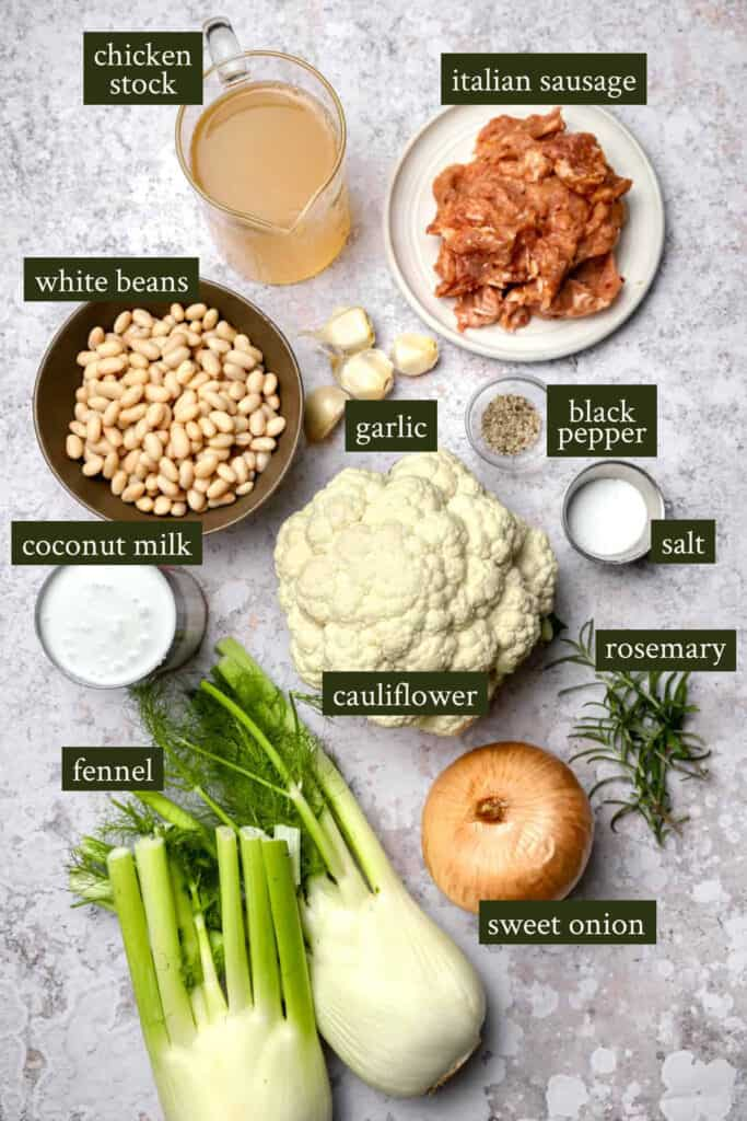 Ingredients for caulifower and fennel soup