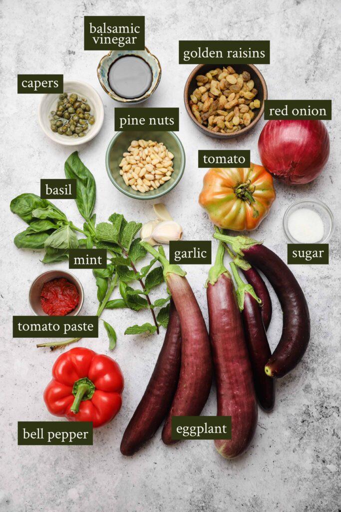 Ingredients for eggplant caponata