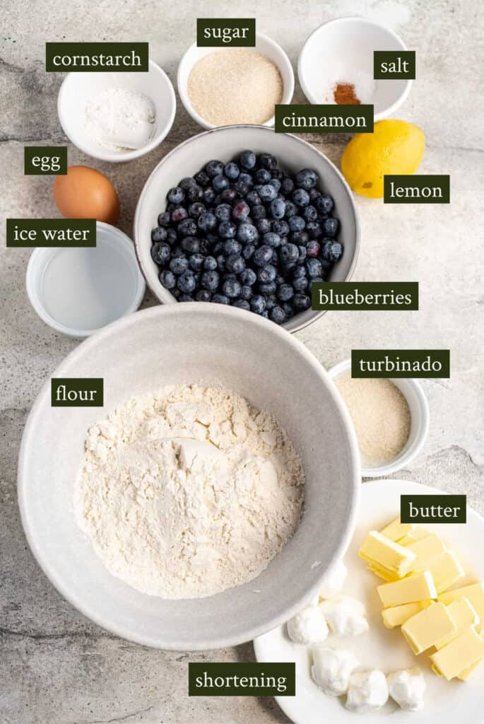 Ingredients for mini blueberry galettes