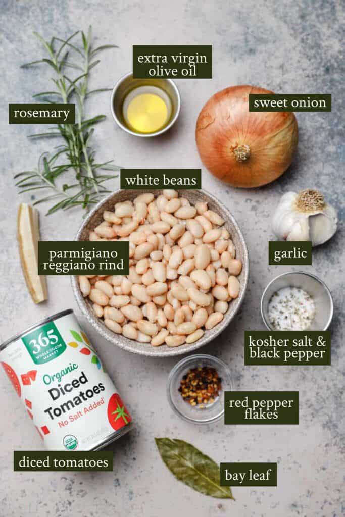 Ingredients for spicy white beans with tomatoes