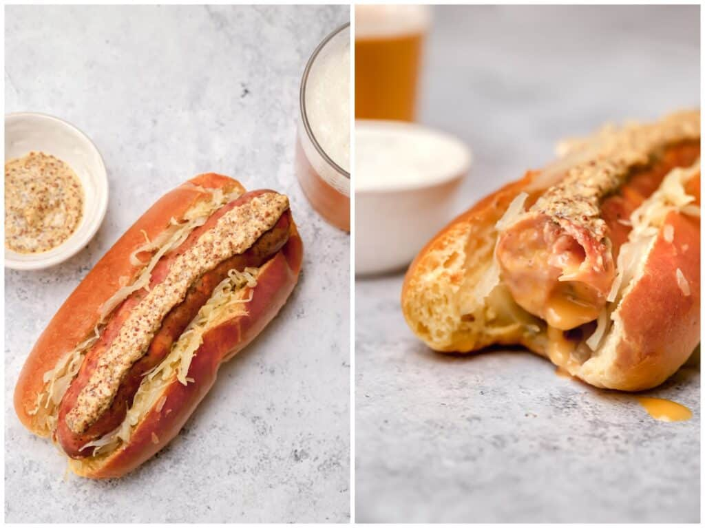 Oven baked brats with mustard and sauerkraut on a bun