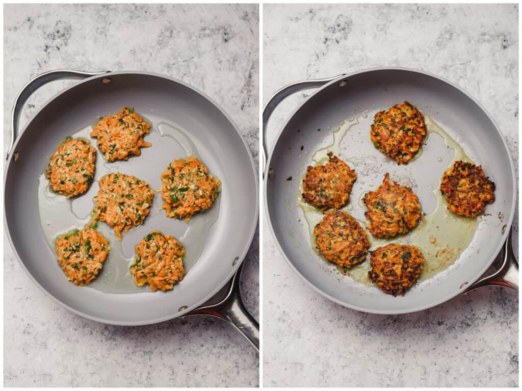 Pan frying sweet potato fritters in a skillet
