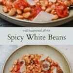 Spicy white beans pinterest graphic