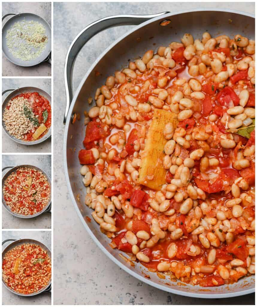 Spicy white beans with tomatoes in a skillet