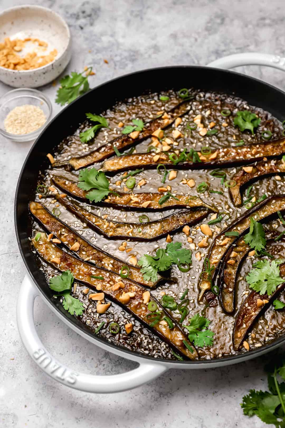 White miso paste eggplant in a pan