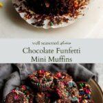 Chocolate Funfetti Mini Muffins pinterest graphic