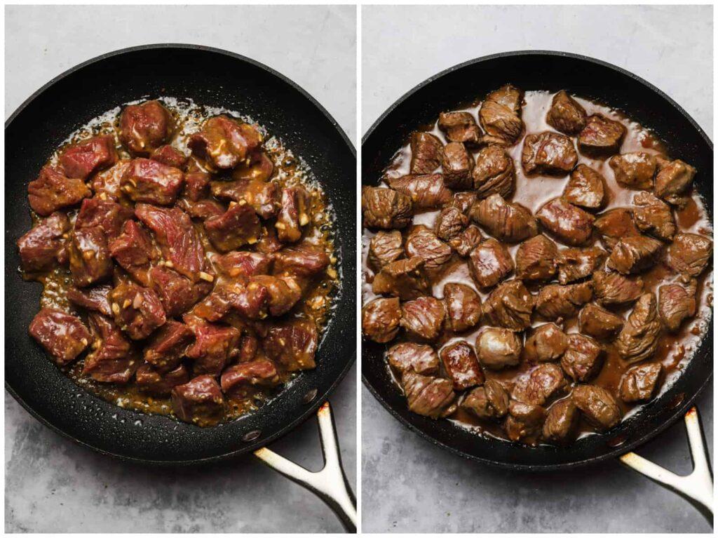Cooking steak tips in miso marinade