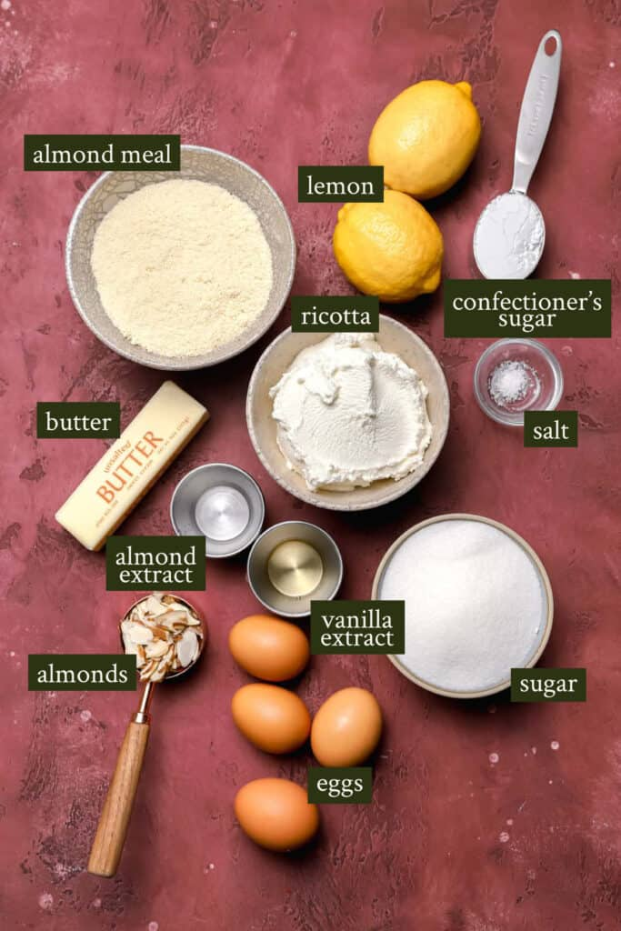 Ingredients for almond ricotta cake